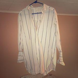 H&M | Striped Cotton Button Down Shirt